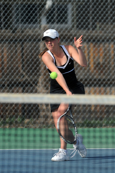 Thompson Valley High School's Hannah Gregory during her No. 2 singles match against Loveland's Jordan Paulus on Friday, March 30, 2012 at TVHS.