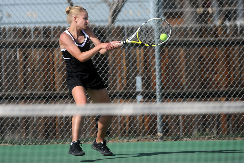 Thompson Valley High School's Andrea Brush during her No. 1 singles match against Loveland's Jen Weissmann on Friday, March 30, 2012 at TVHS.