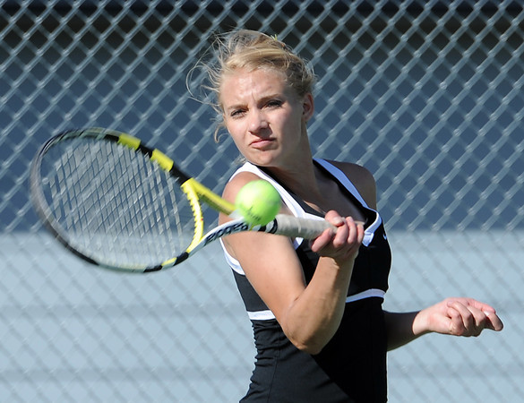 Thompson Valley High School tennis player Andrea Brush during a match against Mountain View Thursday at Thompson Valley. Photo by Jenny Sparks