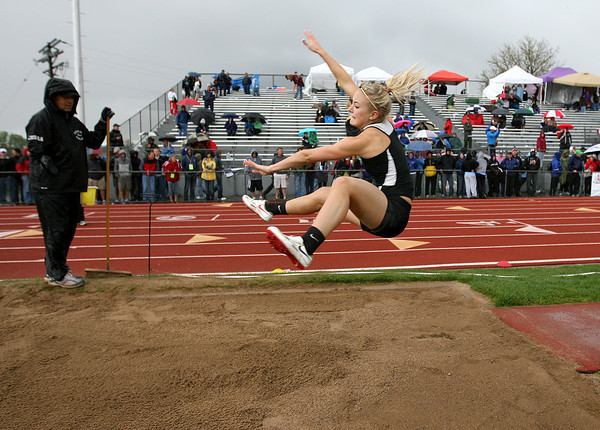Thompson Valley competes in the long jump during State Track on Friday at Jefferson County Stadium in Denver. (Photo by Gabriel Christus)