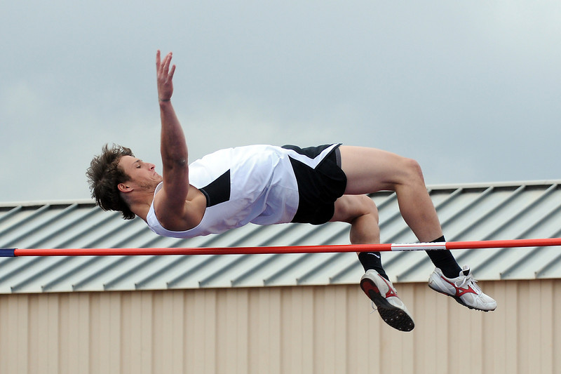 Thompson Valley High School senior Noah Harold clears the bar while competing in the high jump during the Northern Conference Track and Field Championships on Tuesday, May 10, 2011 at Broomfield High School.