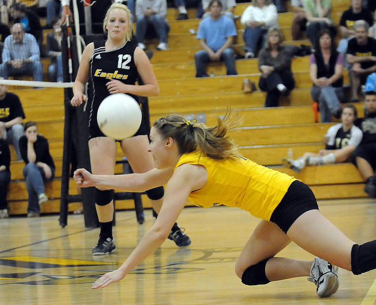 Thompson Valley's #1 Mercedes Slack, front, and #12 Ciara Krenning during their game Saturday.