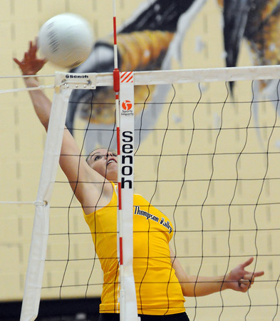 Thompson Valley High School Senior Jordan King stretches to return a ball during the second game against Mountain View High School. Thompson Valley took Tuesday night's home match in three games.