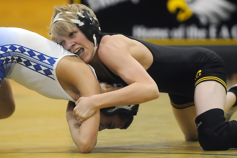 Thompson Valley High School's Tanner Williams, right, takes on Dylan Alvarez of Broomfield during the 103-pound match Thursday night at TVHS. Williams won by pin in the third period.