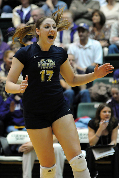 Former Berthoud High School standout Kelley Arnold celebrates a point during the second game on Thursday night during a first-round playoff match against the Washington Huskies.