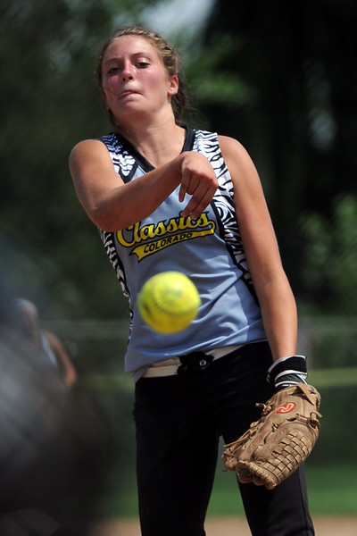 Loveland Classics pitcher Cassidy Smith throws a pitch during a game against the Lady Larks at the Barnes Softball Complex on Saturday, July 14, 2012.