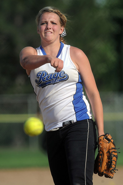 Loveland Rage's Holly Posegate hurls a pitch in the top of the fourth inning of a game against Hitstreak at the Barnes Softball Complex on Friday, July 13, 2012.
