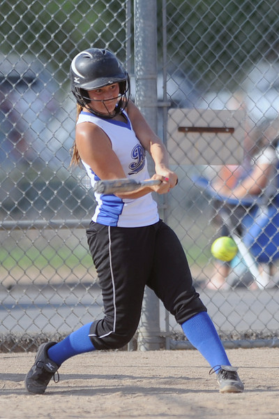 Loveland Rage player Carolyn Aguirre during an at bat while playing against Hitstread at the Barnes Softball Complex on Friday, July 13, 2012.