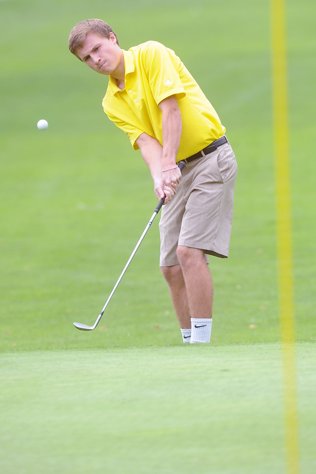 Thompson Valley's Taylor Mickelson chips onto No. 1 during the Class 4A Northern regional qualifier on Thursday, Sept. 19, 2013 at The Olde Course at Loveland. (Photo by Steve Stoner/Loveland Reporter-Herald)