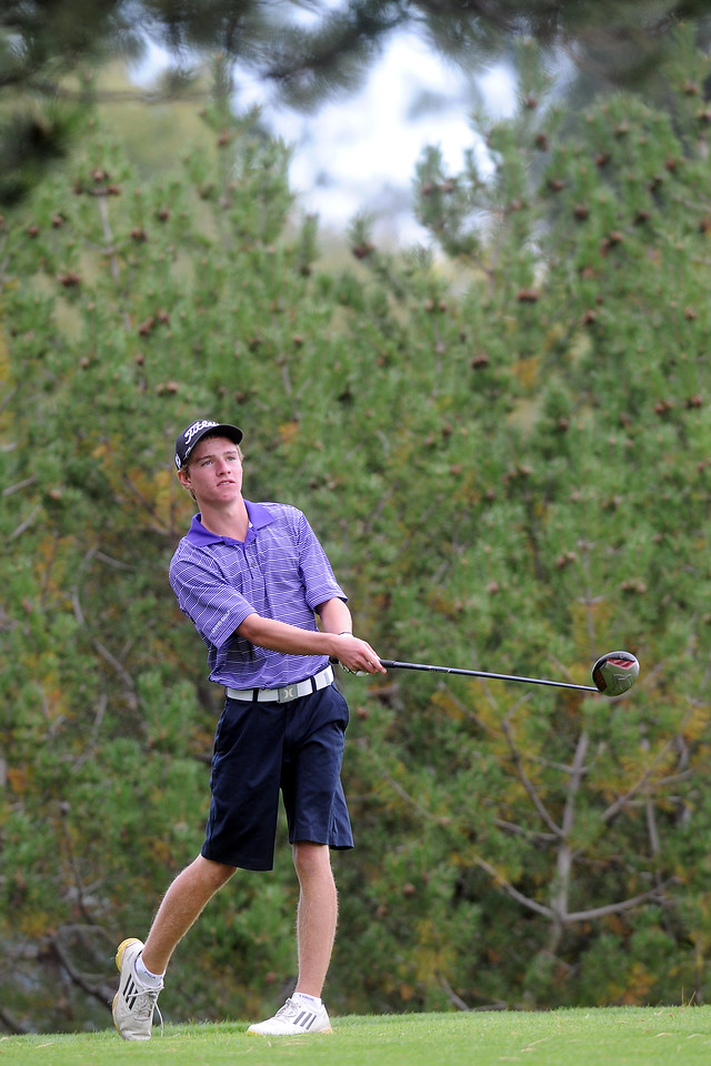 Mountain View's Matt Heesemann watches his drive on No. 3 during the Class 4A Northern regional qualifier on Thursday, Sept. 19, 2013 at The Olde Course at Loveland. (Photo by Steve Stoner/Loveland Reporter-Herald)