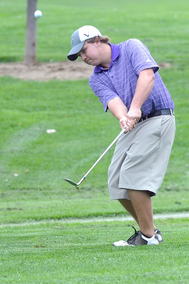 Mountain View's Joe Kuxhausen chips onto No. 1 during the Class 4A Northern regional qualifier on Thursday, Sept. 19, 2013 at The Olde Course at Loveland. (Photo by Steve Stoner/Loveland Reporter-Herald)