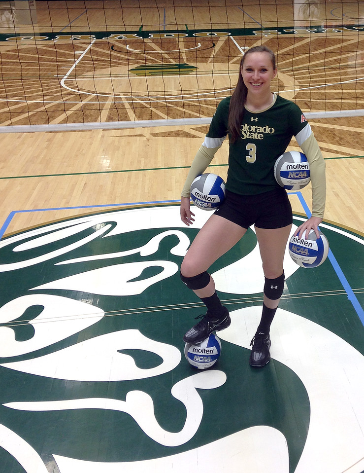 Colorado State University volleyball player Adrianna Culbert poses for a photo Tuesday, Oct 20, 2015. (Photo by Mike Brohard/Loveland Reporter-Herald)