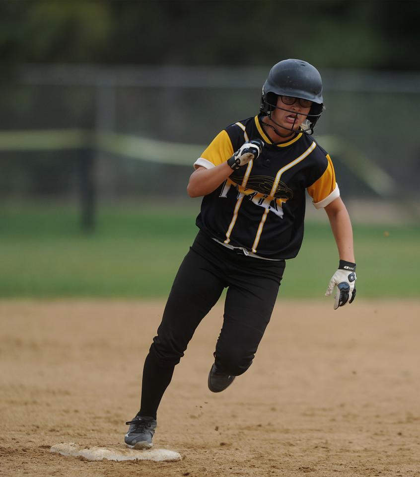 Mariah Diediker, junior at Thompson Valley, rounds second base in the third inning against Boulder High on Saturday, Oct. 3, 2015 in Loveland. (Photo by Trevor L Davis/Loveland Reporter-Herald)