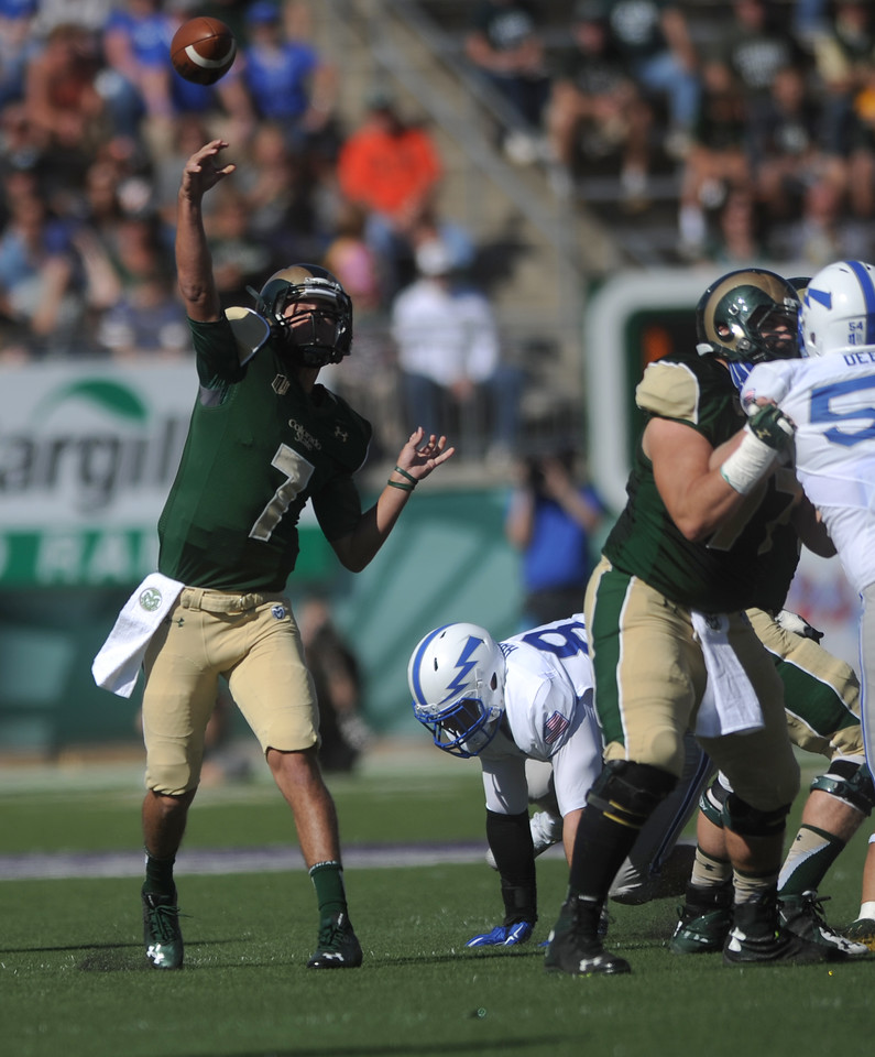 Nick Stevens (7), quarterback for Colorado State, throws a pass in the first half against Air Force on Saturday, Oct. 17, 2015 in Fort Collins. (Photo by Trevor L Davis/Loveland Reporter-Herald)