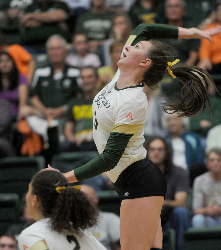 Adrianna Culbert (3), hitter for Colorado State, scores a point for the Rams in the third set against Wyoming on Tuesday, Oct. 13, 2015 in Fort Collins. (Photo by Trevor L Davis/Loveland Reporter-Herald)