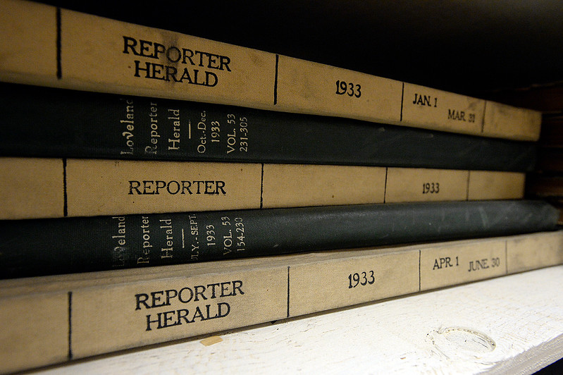 Bound volumes of newspapers from 1933 rest on a shelf as a crew works to pack up and move the Reporter-Herald newspaper archives Thursday, June 8, 2017, in downtown Loveland. The Loveland Museum/Gallery will take over the 127 year-old archives. (Photo by Jenny Sparks/Loveland Reporter-Herald)