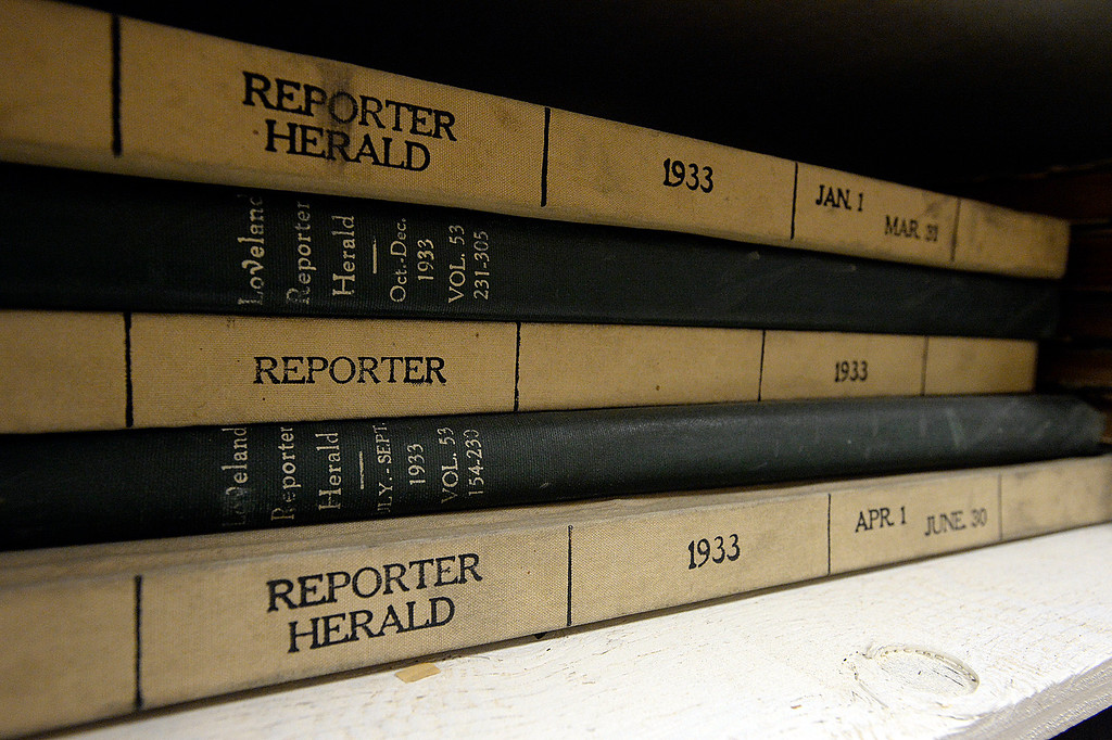 . Bound volumes of newspapers from 1933 rest on a shelf as a crew works to pack up and move the Reporter-Herald newspaper archives Thursday, June 8, 2017, in downtown Loveland. The Loveland Museum/Gallery will take over the 127 year-old archives. (Photo by Jenny Sparks/Loveland Reporter-Herald)