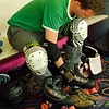 Sentinel & Enterprise reporter Peter Jasinski gears up for the Baystate Brawlers roller derby team practice at Roll-On America on Wednesday ahead of their new skater class. SENTINEL & ENTERPRISE / Ashley Green