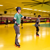 Sentinel & Enterprise reporter Peter Jasinski takes part in the Baystate Brawlers roller derby new skater class at Roll-On America on Wednesday. SENTINEL & ENTERPRISE / Ashley Gree