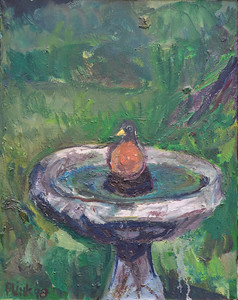 "Bathing Robin, Oil on Canvas, 24""h20""w, 1998"