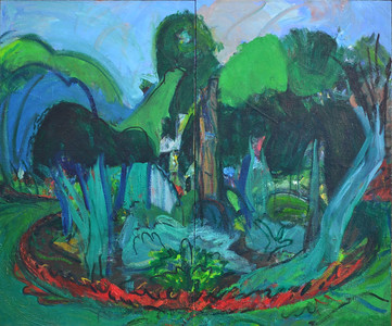 "Dream Garden, Oil on Canvas, 30""h36""w, 1988"