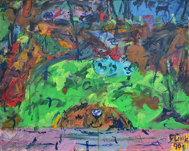 "Roof and Yard, Oil on Canvas, 24""h30""w, 1991"