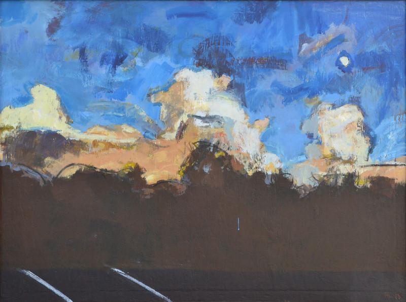"Moon over NC Zoo 2, Acrylic on Canvas, 36""h 48""w, 2015"