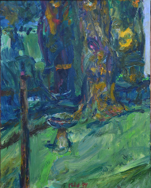 "Chapman St  Backyard with Birdbath, Oil on Canvas, 20""h16""w, 1997"