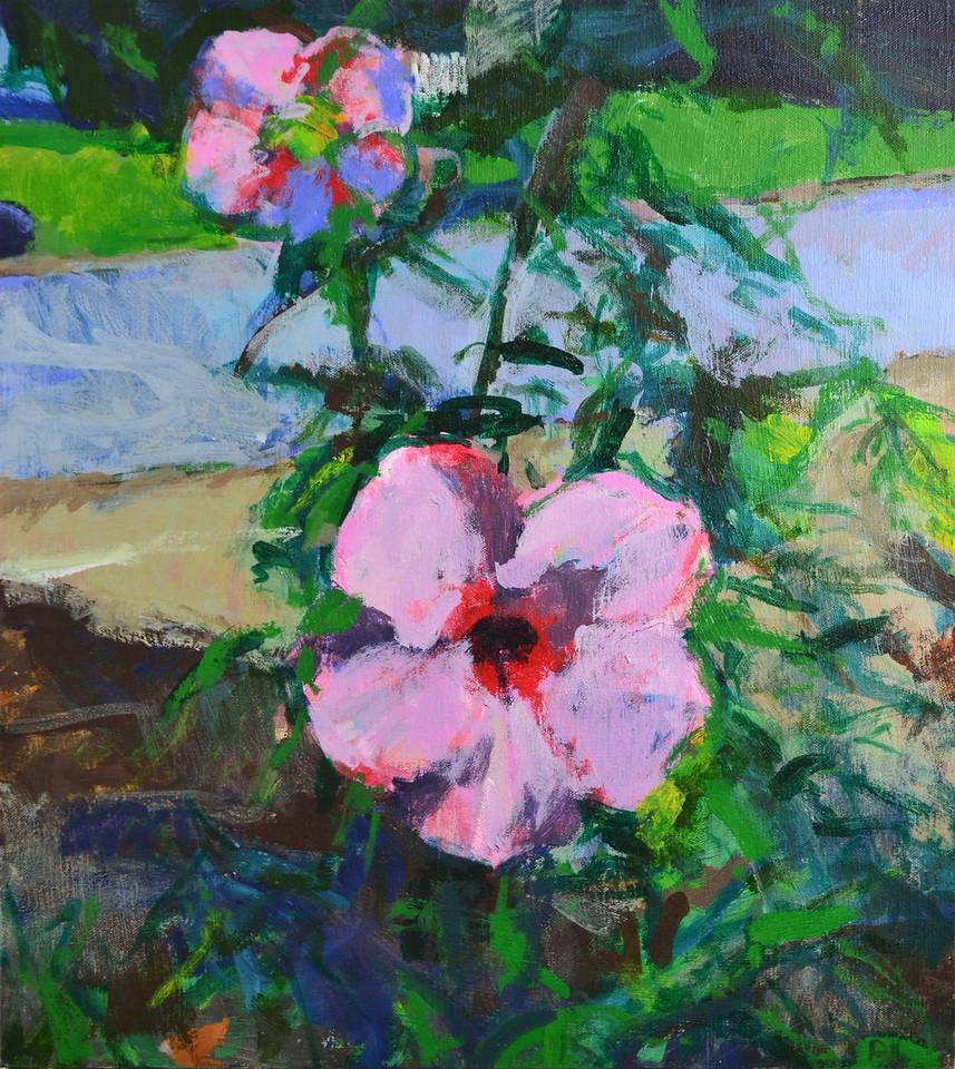 """Suburban Flowers, Acrylic on Canvas, 20""""h18""""w, 2015"""