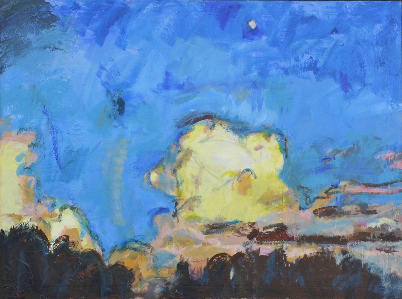 "Moon Over NC Zoo, Acrylic on Canvas, 36""h 48""w, 2015"