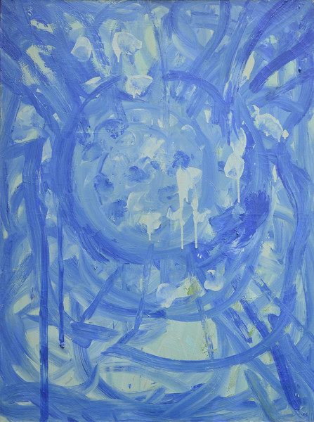 "Blue Center, Latex on Canvas, 48""h36""w, 1998"