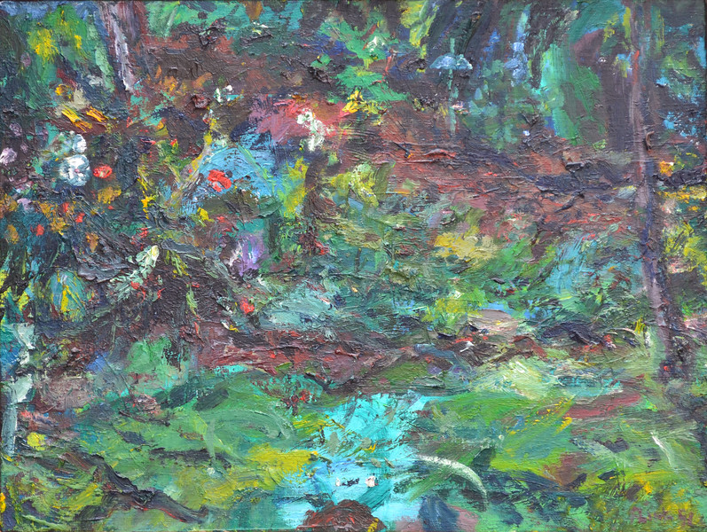 "Yard Garden, Oil on Canvas, 18""h24""w, 1991"