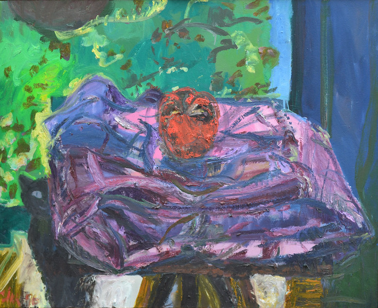 "Scary Apple, Oil on Canvas, 29""h36""w, 1996"