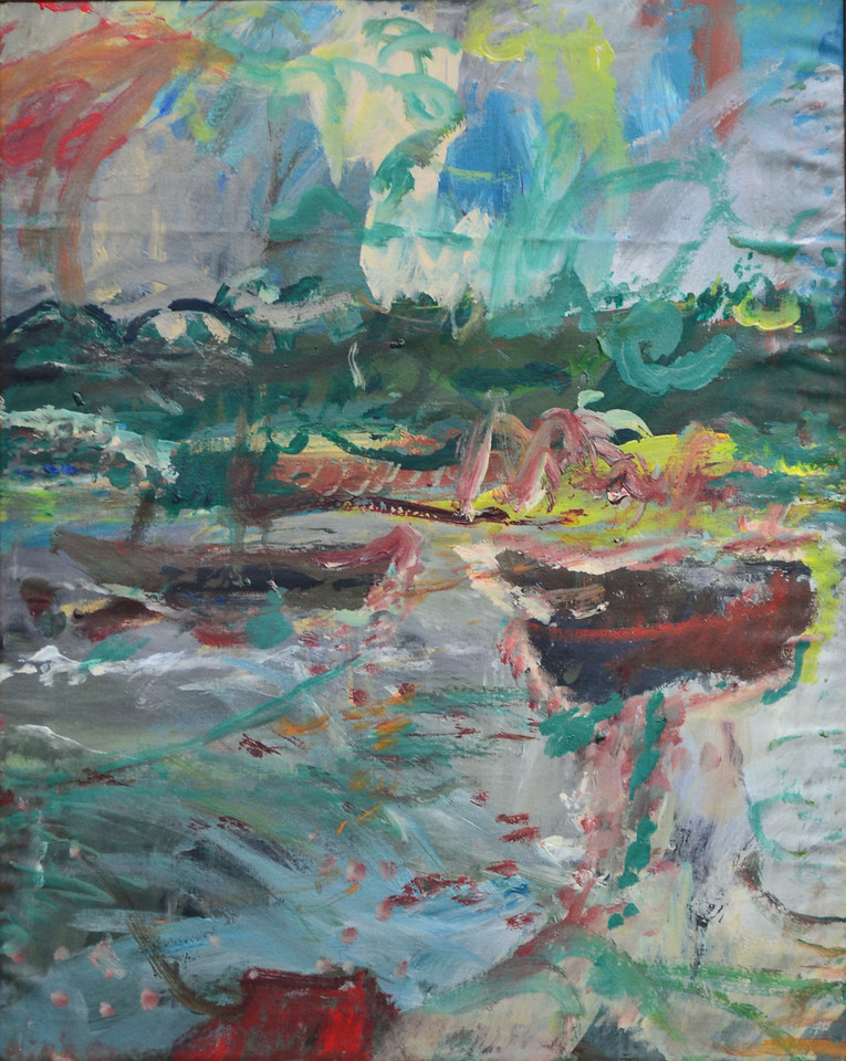 "Moored Boats, Acylic on Canvas, 30""h24""w, 1992"