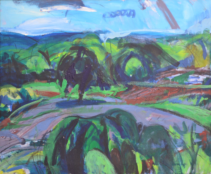 "Forsyth County Valley, Acrylic on Canvas, 28""h34""w, 1986"