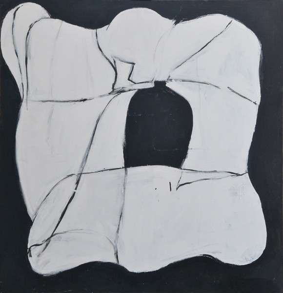 """Large Favorite Shape, Latex on Canvas, 49""""h47 5""""w, 2000"""