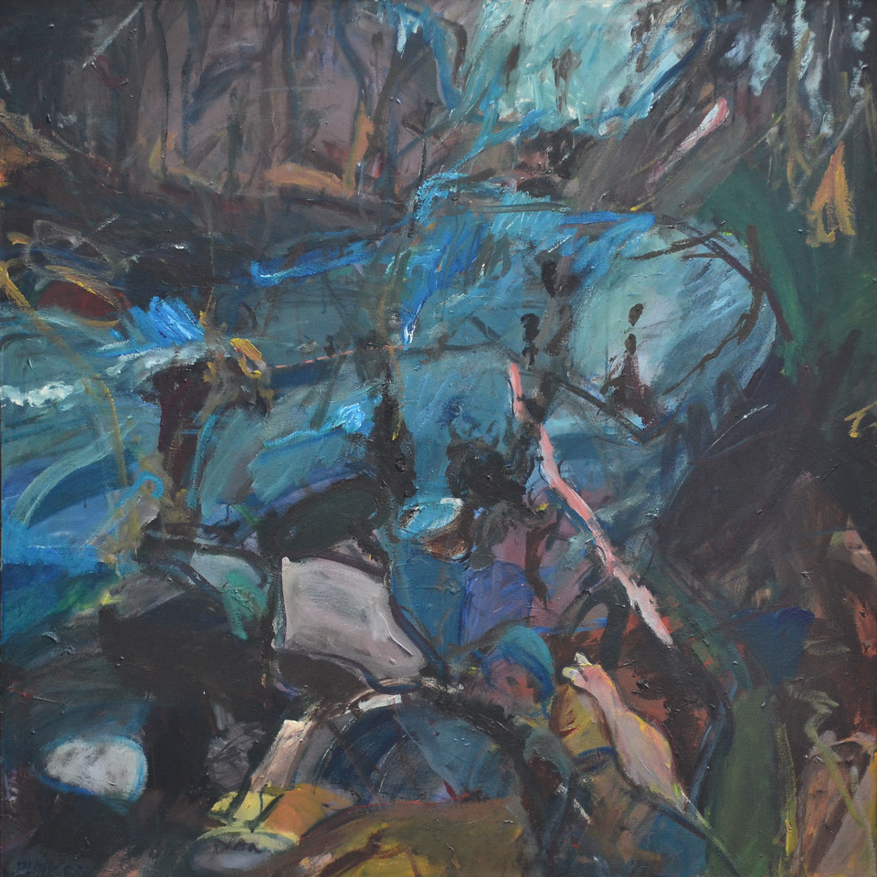 "River Debris, Oil and Charcoal on Canvas, 48""h47 5""w, 1993"