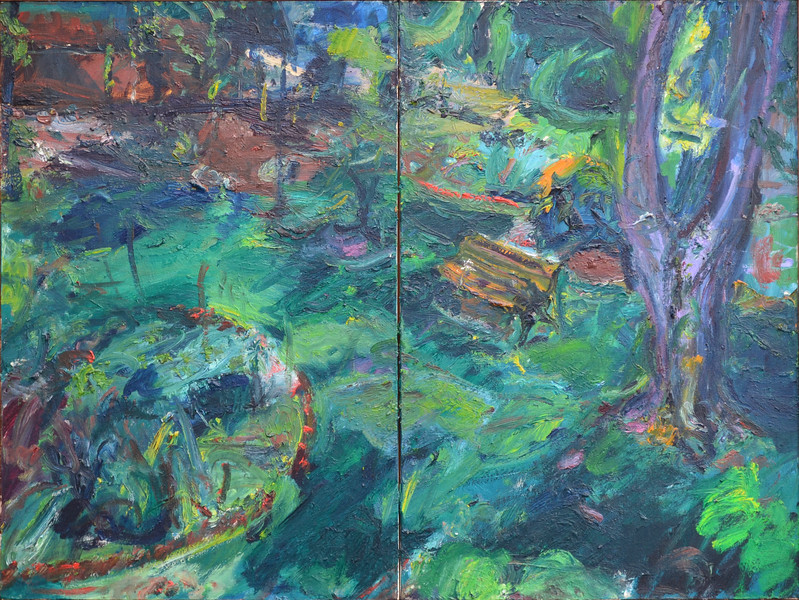 "Yard with Bench, Oil on Canvas, 24""h32""w, 1990"