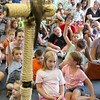 Donna Phillips from the Museum of Science in Boston brought three reptiles to the Fitchburg Public Library for the kids to see. One of the reptiles that Phillips brought to show the kids was this prehensile tail skink. SENTINEL & ENTERPRISE/JOHN LOVE