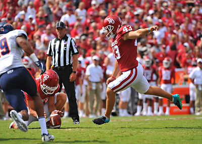 NCAA FOOTBALL September 2  2017 University of Oklahoma  vs University of Texas at El Paso  Oklahoma Sooners place kicker Austin Seibert (43) kicks a field goal in the game between the Oklahoma Sooners and the UTEP Miners at Gaylord Memorial Stadium Owen Field in Norman OK   June Frantz Hunt/Transcript