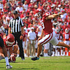 NCAA FOOTBALL September 2  2017 University of Oklahoma  vs University of Texas at El Paso<br /> <br /> Oklahoma Sooners place kicker Austin Seibert (43) kicks a field goal in the game between the Oklahoma Sooners and the UTEP Miners at Gaylord Memorial Stadium Owen Field in Norman OK<br /> <br /> <br /> June Frantz Hunt/Transcript