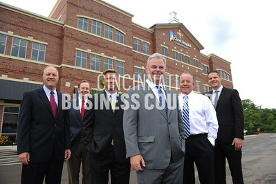 Location: The Christ Hospital Outpatient Center, Montgomery, OH.  4787_Group Photo-L to R: Jerry Royce, Matt Grever, Mike Doty, Mike Brandy, Greg Cozzart, and Matt Kramer.  Photos by Mark Bowen for The Cincinnati Business Courier.