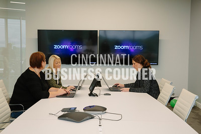 Priska Doud, Lauren Jungkuz and Corinne Winkler meet in a conference room at Quotient in the new Kenwood Collection building on Friday September 30 2016 in Cincinnati, OH. (Josh Anderson for Cincinnati Business Courier)