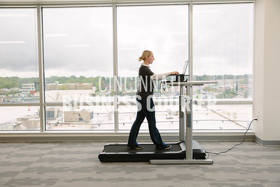 Samantha Conley works on a treadmill desk at Quotient in the new Kenwood Collection building on Friday September 30 2016 in Cincinnati, OH. (Josh Anderson for Cincinnati Business Courier)