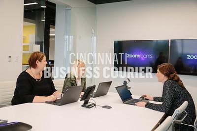 Priska Doud, Lauren Jungkuz and Corinne Winkler meet in a conference room at Quotient in the new Kenwood Collection building on Friday September 30 2016 in Cincinnati, OH. (Josh Anderson for Cincinnati Business Courier)