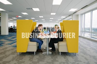 Kevin Reilly and Samantha Conley sit in a small meeting space at Quotient in the new Kenwood Collection building on Friday September 30 2016 in Cincinnati, OH. (Josh Anderson for Cincinnati Business Courier)