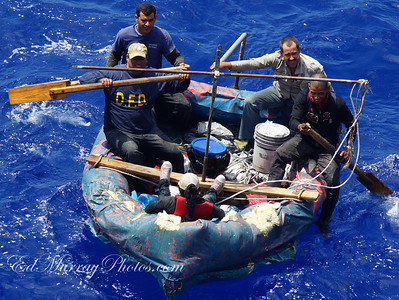 The Wonder stopped and rescued all five rafters - 4 male and 1 female(in the bow), then remained on scene for 2 hours until the U.S. Coast Guard arrived.