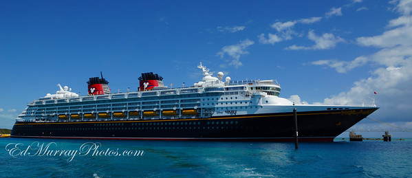 The Disney Wonder anchored at Cast Away Cay (Key) on 4/17