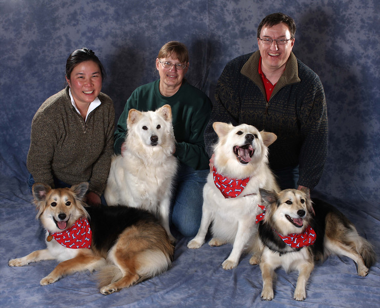 (Left to Right) Sadie, Katie (mom), Cubby, and Sparkle.