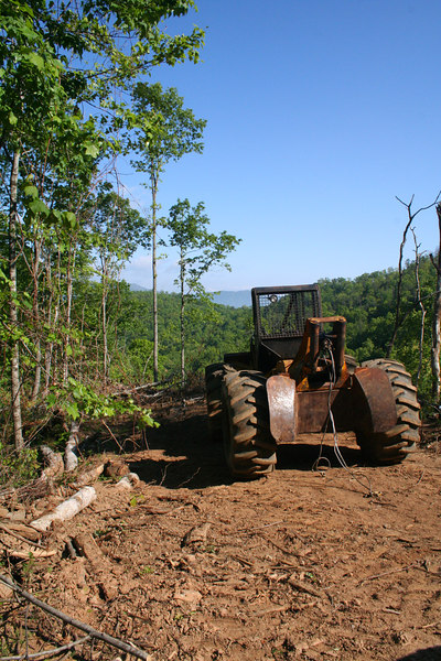 Puller used to drag trees up to the top of the ridge